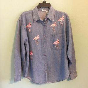 Flamingo Denim Shirt Retro Florida Button Down S